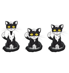 Black kitty set on a white background vector