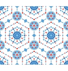 Blue and Red Floral Pattern with Cornflower vector