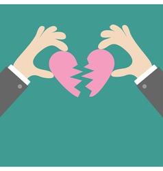 Businessman hands holding pink broken heart Flat vector