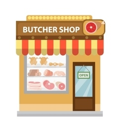 Butcher shop meat showcase icon flat style vector image