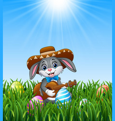 cartoon rabbit mexican playing guitar and singing vector image