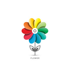 colorful flower symbol isolated on white vector image
