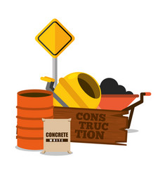 construction wooden board and barrel concrete vector image
