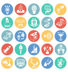 crowdfunding icons set on color circles background vector image