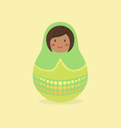 Cute russian doll green vector