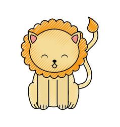 Cute scribble lion cartoon vector