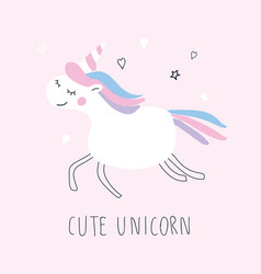 Cute unicorn character on pink background vector