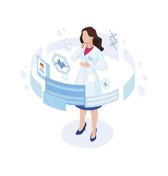 doctor studying patient profile isometric vector image