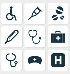 drug icons set collection of handicapped chest vector image