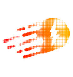 electric strike halftone dotted icon with fast vector image