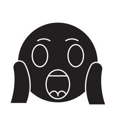 face screaming emoji black concept icon vector image