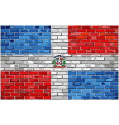 Flag of dominican republic on a brick wall vector