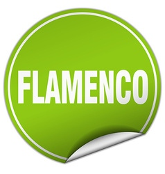 Flamenco round green sticker isolated on white vector