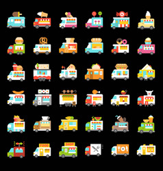 Food truck icon set flat style vector