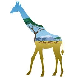 Giraffe Landscape vector