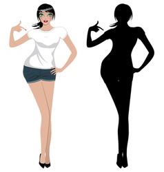Girl in White T Shirt vector