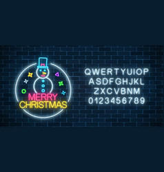 glowing neon christmas sign with snowman and vector image