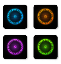 glowing neon circular saw blade icon isolated on vector image