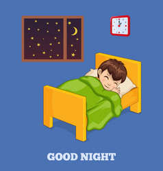 Good night poster wiith boy in bed under blanket vector