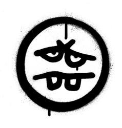 Graffiti tired emoticon sprayed in black vector