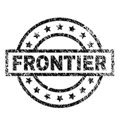 Grunge textured frontier stamp seal vector