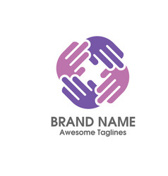 Hand social charity team logo vector
