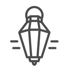 hanging lantern line icon old lamp web vector image
