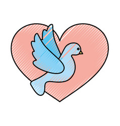 Heart with cute dove flying icon vector