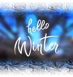 Hello winter lettering vector image