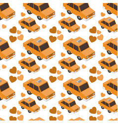 isometrics taxis and hearts pattern background vector image