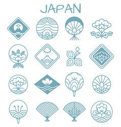 japanese icons with unusual floristic patterns vector image