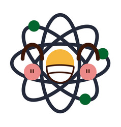 Kawaii atom scheme molecule particle science vector
