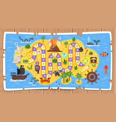 kids pirate board game template vector image