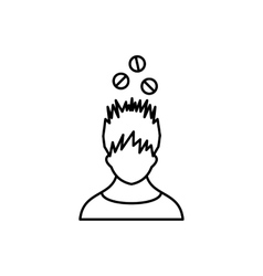 Man with tablets over head icon outline style vector