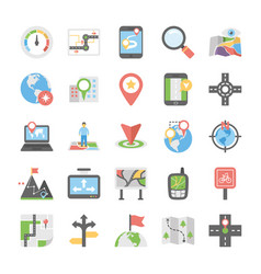 Maps and navigation flat icons set 6 vector