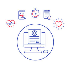 Medical history line icon vector