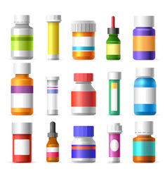 medicine bottles set vector image