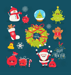 merry christmas and a happy new year santa vector image