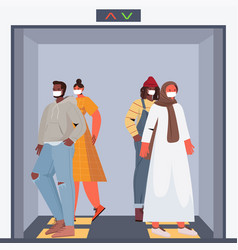 mix race people wearing protective masks keeping vector image