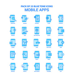 Mobile apps blue tone icon pack - 25 icon sets vector