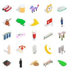 Muslim country icons set isometric style vector