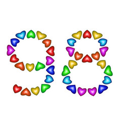 number 98 ninety eight of colorful hearts on white vector image