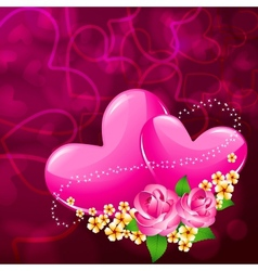 Pair heart with flower vector