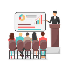 people look at presentation at business classes vector image