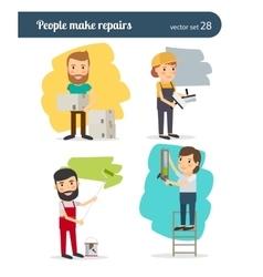 People make repairs vector