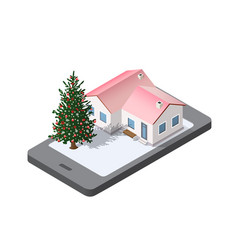 phone concept winter holiday vector image