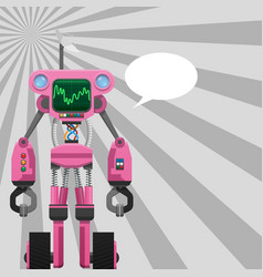 Pink robot with pincers on arms and wheels on legs vector