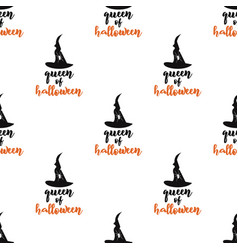queen halloween seamless pattern with hat and vector image