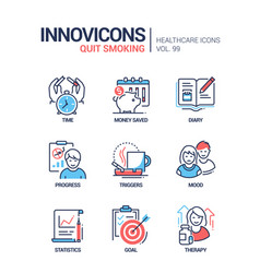 quit smoking - line design style icons set vector image