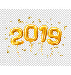 Realistic 2019 gold air balloons confetti new year vector
